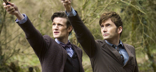 Matt Smith as the Eleventh Doctor and David Tennant as the Tenth Doctor in DOCTOR WHO (Image Credit: Adrian Rogers / © BBC/BBC Worldwide)