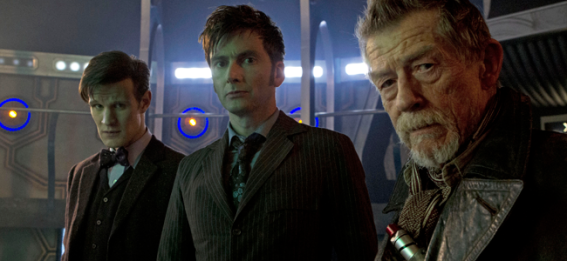 Matt Smith as the Eleventh Doctor, David Tennant as the Tenth Doctor and John Hurt in DOCTOR WHO (Image Credit: Adrian Rogers / BBC)