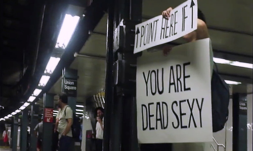 Still from The New York Subway Signs Experiment (Image Credit: Yosef Lerner)