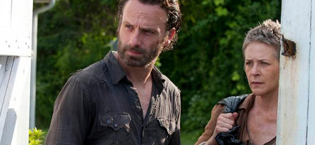 Andrew Lincoln as Rick Grimes and Melissa Suzanne McBride as Carol in THE WALKING DEAD (Image Credit: Gene Page/AMC)
