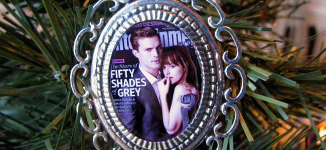 Handmade Fifty Shades of Grey Christian Grey and Ana Steele Theme Ornament (Image Credit: Kabjewelrydesign)