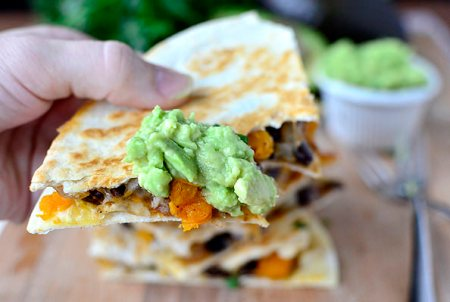 Black Bean & Butternut Squash Quesadillas with Lazy Girl's Guacamole (Image Credit: Iowa Girl Eats)