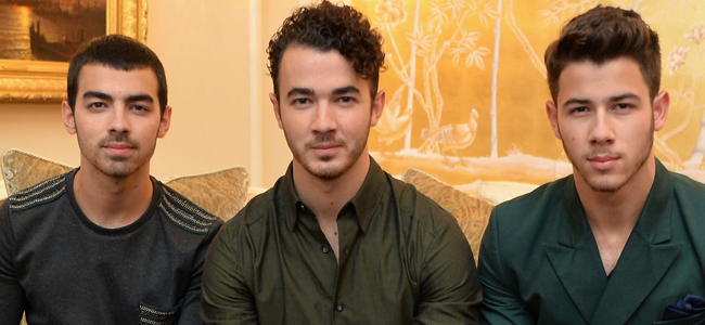 Joe Jonas, Kevin Jonas and Nick Jonas of the Jonas Brothers attend the Mercedes-Benz Star Lounge during Mercedes-Benz Fashion Week Spring 2014 (image Credit: Mike Coppola/Getty Images for Mercedes-Benz)