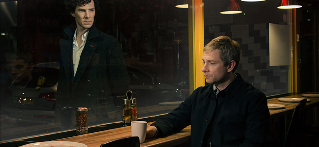 Benedict Cumberbatch as Sherlock Holmes and Martin Freeman as Dr. John Watson in SHERLOCK (Image Credit: BBC)