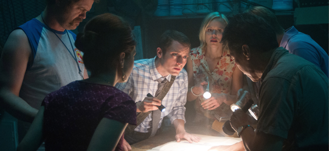 Nasim Pedrad, Rainn Wilson, Elijah Wood, Alison Pill, Jack McBrayer and Peter Kwong in COOTIES (Image Credit: Tony Rivetti Jr.)