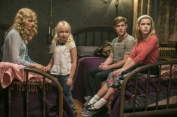 Heather Graham as Corrine, Ava Telek as Carrie, Mason Dye as Christopher and Kiernan Shipka as Cathy in FLOWERS IN THE ATTIC (Image Credit: James Dittiger/Lifetime)