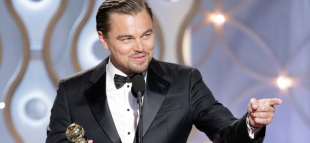 "71st ANNUAL GOLDEN GLOBE AWARDS -- Pictured: Leonardo DiCaprio, Winner Best Actor - Motion Picture, Comedy or Musical, ""The Wolf of Wall Street"" at the 71st Annual Golden Globe Awards held at the Beverly Hilton Hotel on January 12, 2014 -- (Photo By: Paul Drinkwater/NBC)"