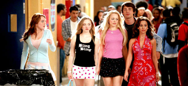 Lindsay Lohan as Cady Heron, Amanda Seyfried as Karen Smith, Rachel McAdams as Regina George, Jonathan Bennett as Aaron Samuels and Lacey Chabert as Gretchen Wieners in MEAN GIRLS (Image Credit: Paramount Pictures)
