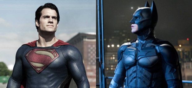 Henry Cavill as Superman in MAN OF STEEL (Image Credit: Warner Bros.) / Christian Bale as Batman in THE DARK KNIGHT RISES (Image Credit: Warner Bros.)
