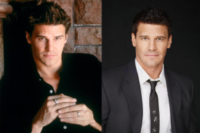 David Boreanaz in BUFFY THE VAMPIRE SLAYER (Image Credit: Warner Bros.) / David Boreanaz in BONES (Image Credit: FOX)