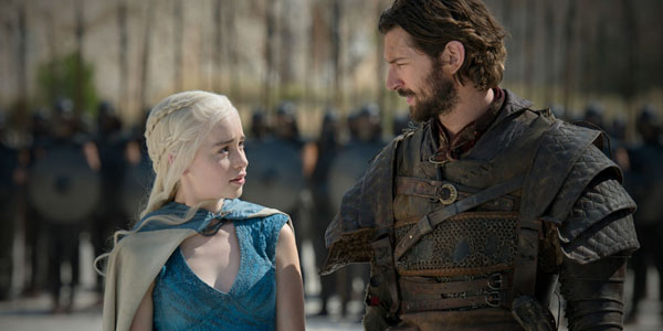Emilia Clarke as Daenerys Targaryen and Michiel Huisman as Daario Naharis in GAME OF THRONES (Image Credit: HBO)