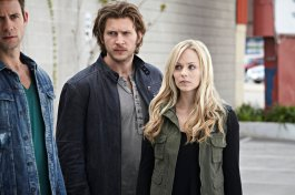 Steve Lund as Nick Sorrentino, Greyston Holt as Clayton Danvers and Laura Vandervoort as Elena Michaels in BITTEN (Image Credit: Ian Watson/Syfy)