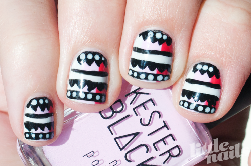 Nails Pink Stripes and Zigzags Manicure (Image Credit: Little Nails)