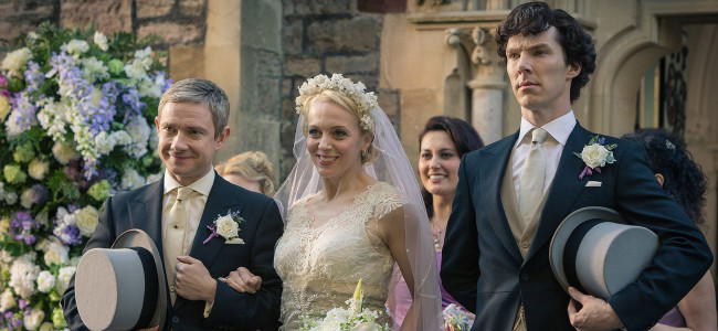 Martin Freeman, Amanda Abbington and Benedict Cumberbatch in SHERLOCK (Image Credit: Hartswood Films/BBC)