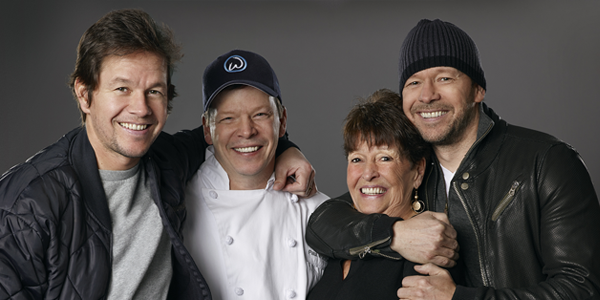 Mark, Paul, Alma and Donnie Wahlberg for WAHLBURGERS (Image Credit: Zach Dilgard/A&E)