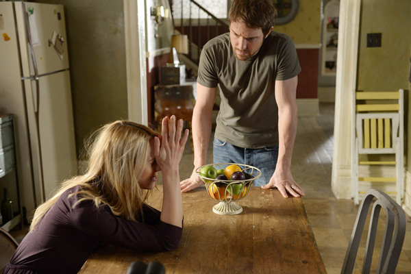 Kristen Hager as Nora Levison and Sam Huntington as Josh Levison in BEING HUMAN (Image Credit: Philippe Bosse/Syfy)