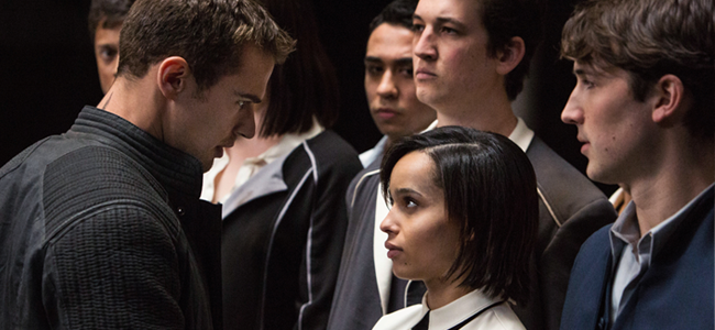 Theo James, Zoe Kravitz, Miles Teller and Ben Lloyd-Hughes in DIVERGENT (Image Credit: Jaap Buitendijk/Summit Entertainment)