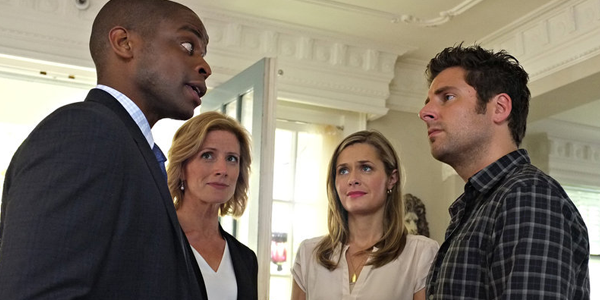 Dule Hill as Burton Guster, Kirsten Nelson as Karen Vick, Maggie Lawson as Juliet O'Hara and James Roday as Shawn Spencer in PSYCH (Image Credit: Alan Zenuk/USA Network)