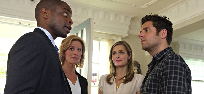 Dule Hill as Gus Guster, Kirsten Nelson as Karen Vick, Maggie Lawson as Juliet O'Hara and James Roday as Shawn Spencer in PSYCH (Image Credit: Alan Zenuk/USA Network)