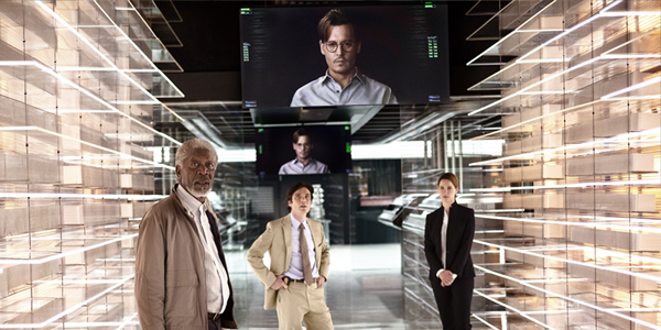 Morgan Freeman as Joseph Tagger, Cillian Murphy as Agent Buchanan, Johnny Depp as Will Caster (on monitors) and Rebecca Hall as Evelyn Caster in TRANSCENDENCE (Image Credit: Warner Bros.)