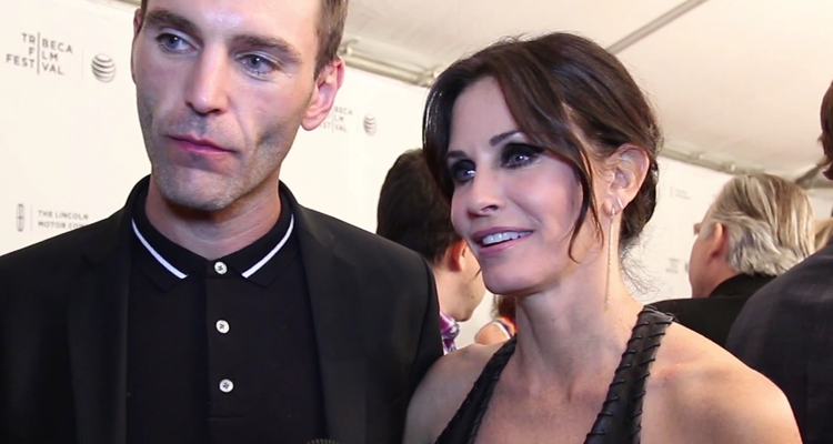 Johnny McDaid and Courtney Cox on the red carpet of JUST BEFORE I GO (Image Credit: Tara Robinson / The Daily Quirk)