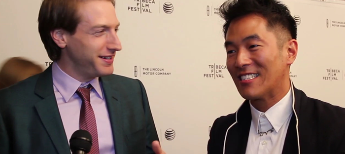 Fran Kranz and Leo Nam on the red carpet of MURDER OF A CAT (Image Credit: Tara Robinson / The Daily Quirk)