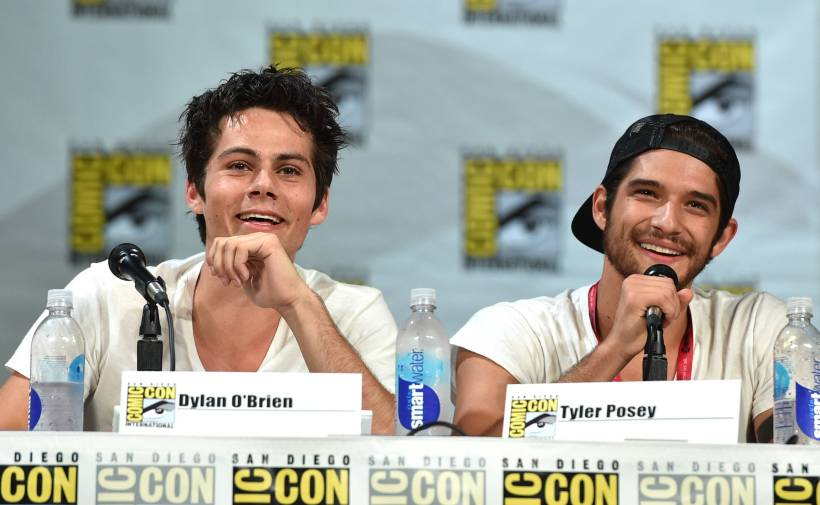 """Dylan O'Brien and Tyler Posey attend the """"Teen Wolf"""" panel at Comic-Con International on Thursday, July 24, 2014, in San Diego (Image Credit: John Shearer/Invision for MTV/AP Images)"""