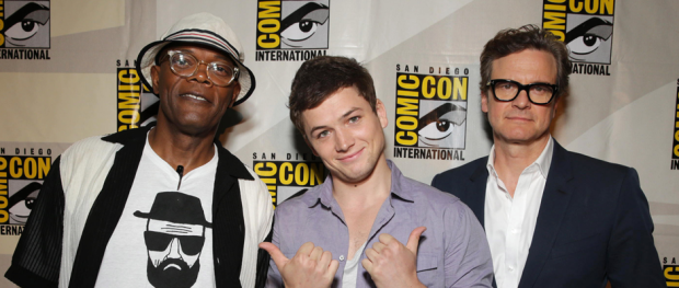 Samuel L. Jackson, Taron Egerton and Colin Firth for KINGSMAN: THE SECRET SERVICE (Image Credit: 20th Century Fox)