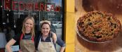 Actress Lauren Bowles and RED BREAD Founder Rose Lawrence / RED BREAD Blackberry Crumble Pie (Image Credit: Joe Cannon/The Daily Quirk)