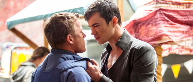 Christopher Egan as Alex Lannon and Tom Wisdom as Michael in DOMINION (Image Credit: Ilze Kitshoff/Syfy)