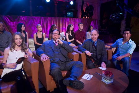 Christen Gerhart, Penn & Teller and Jason Latimer in WIZARD WARS (Image Credit: Dale Berman/Syfy)