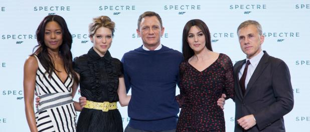 Naomie Harris, Léa Seydoux, Daniel Craig, Monica Bellucci and Christoph Waltz for SPECTRE (Image Credit: David Dettmann/Columbia TriStar Marketing Group)